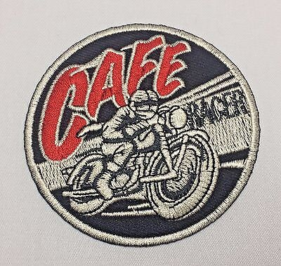 CAFE RACER Biker Racing Club Emblem Sew Iron-On Embroidered Applique Patch Badge