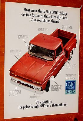 Red 1966 Gmc Stepside Pickup Truck Classic Gm Ad - Vintage 60S American Sixties
