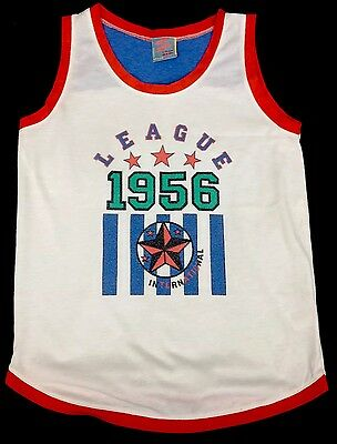 Streets ahead retro vest kids 34 chest vintage activewear white sleeveless