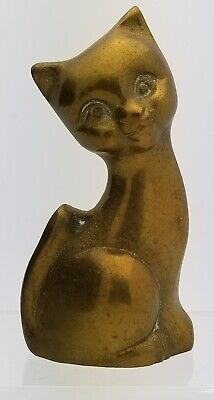 "Brass Cat Small 3"" Tall Figure Vintage Sitting Figurine Leonard Korea"