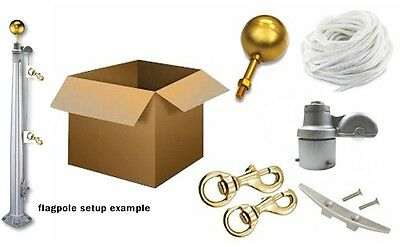Flagpole Repair Rope Parts Kit for up to 25' with 2-3/8 Revolving pulley truck