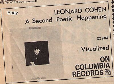 "1969 Vintage Leonard Cohen ""Songs From A Room"" Album Canadian Trade Print Advert"