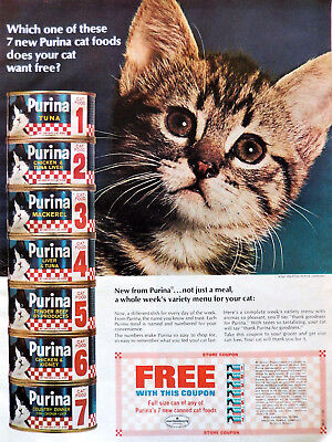 Vtg 1967 Purina cat food with coupon retro advertisement print ad art