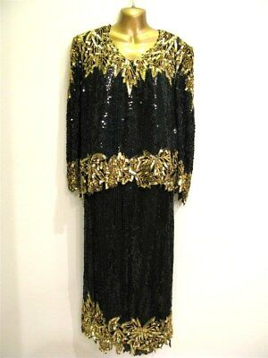 Scala Vintage Black & Gold Sequin Top And Skirt ~ Gorgeous ~Vintage 1980's ~