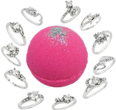 Bath Bomb with Ring Surprise Inside 8.1oz Pink Sugar w/ Silver Shimmer and Kaoli