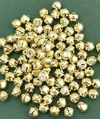 Pack of 10 Gold Bells - Metal Jingle Charms - Christmas Crafts - 10mm Cat Bells