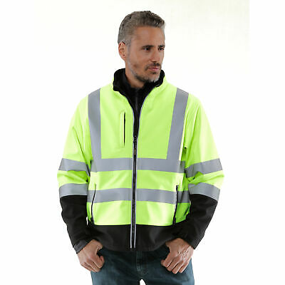RefrigiWear Men's High Visibility Softshell Safety Jacket with Reflective Tape