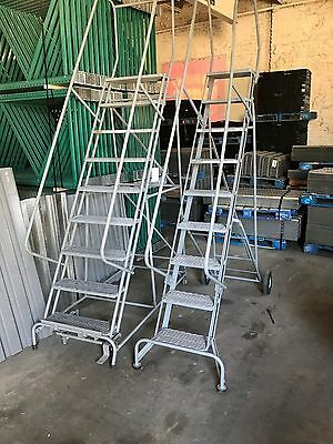 Used 9 Step Steel Rolling Ladders, 2 each, Chicago, IL