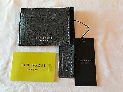 Ted Baker Harman Cross Grain Card Wallet Grey/Black NWT MSRP $55.00