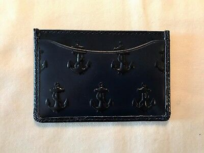 Jack Spade Credit Card Holder Embossed Anchor Navy Leather NWT $78.00