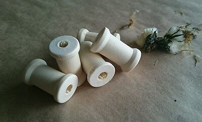 5 x Unfinished Wooden Spool / Bobbins Beads 27x17mm - Natural Wood Craft Reels