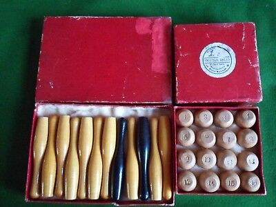 Antique Burroughes & Watts Billiards Bagatelle Skittle game Boxed Circa 1902s