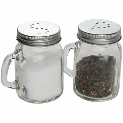 Mason Jar Style Retro Glass Salt And Pepper Shakers Set With Handles