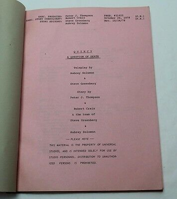 Quincy M.E., 1978 TV Show Script * starring actor Jack Klugman from 12 Angry Men