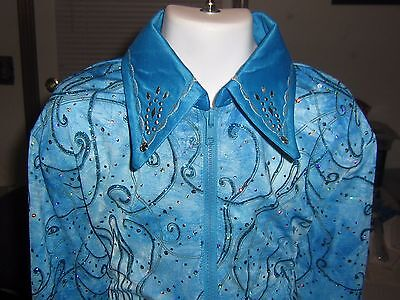 L girls blue  showmanship Horsemanship pleasure rail western show shirt youth