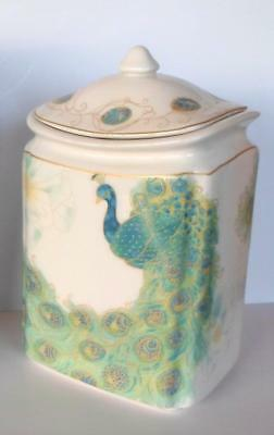 """222 Fifth Peacock Jar Treat Cookie Porcelain Container With Lid 8"""" Lakshmi New"""