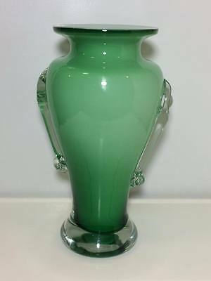 Vintage cased green art glass vase