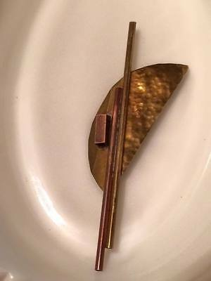 Hand crafted brass and copper machinist abstract brooch signed