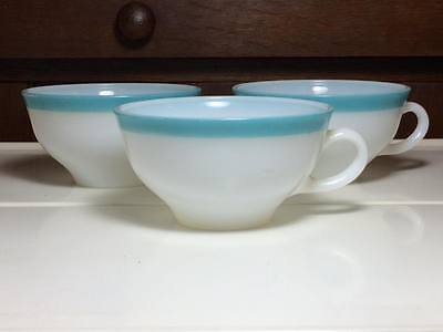 Set of 3 vintage  blue stripe Pyrex teacups made in Canada