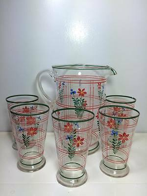 1950's pin striped  floral glass drink set