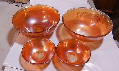 4 Vintage Marigold Daisy Chain & Ribbed Carnival Glass  Bowls 2 Sizes