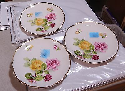 """3 German Plates  Yellow Pink Red Roses Gilt Edged 8 1/2""""   #10"""