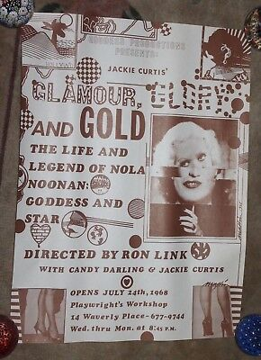 ORIGINAL POSTER 1968 Jackie Curtis GLAMOUR, GLORY & GOLD NOLA NOONAN 1967 CANDY