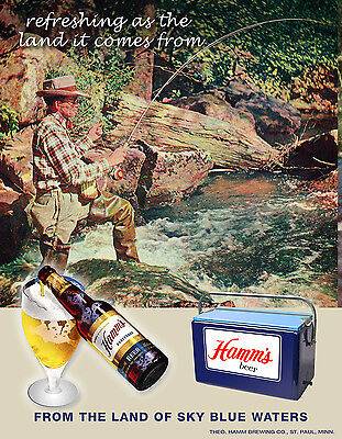 Vintage HAMMS beer Art Print Sign Ad Trout Fishing St Paul Minnesota