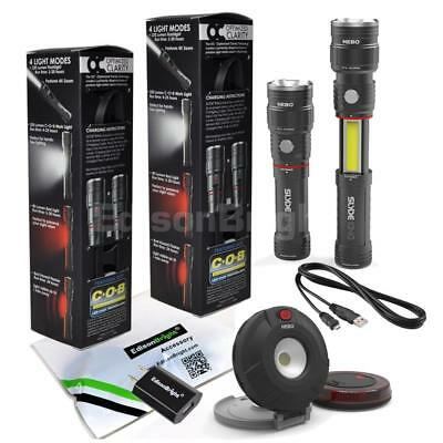 2 Pack NEBO SLYDE KING rechargeable LED Flashlight w/ Auto emergency Lights Pair