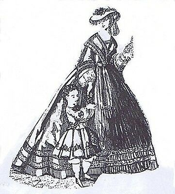 "1863 Dress pattern for antique French Fashion doll size 12-16 17-18 21-22"" #122"