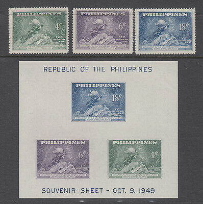 Philippines Sc 531 - 534 UPU 75th Anniversary set Mint Never Hinged incl M/S