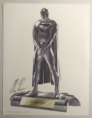 Superman Statue Print Signed By Alex Ross 8.5 x 11 Man of Steel