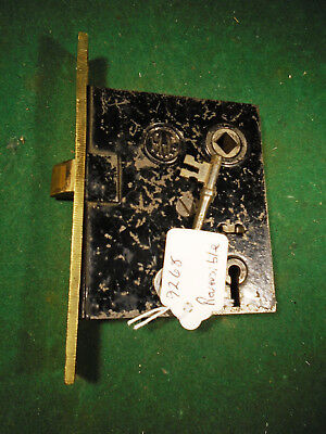 "VINTAGE READING HARDWARE (R.H.C.) MORTISE LOCK w/ KEY - 5 3/8"" REBUILT (9268)"