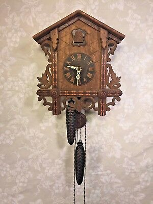 Antique Cuckoo Clock with Inlay 1 Day Movement Runs? Strikes? Railroad Station