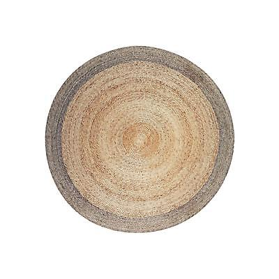 Charming Round Hemp Rug with Pewter Border - 5″ × 5″