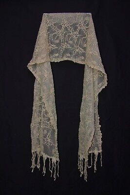 Dark Cream W Green Shimmer Fully Embellished Scarf E Flowers & Butterflies S174A