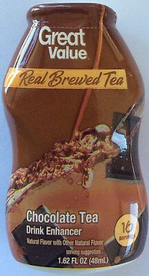 New Sealed Great Value Real Brewed Tea Chocolate Tea Drink Enhancer 1.62 Oz