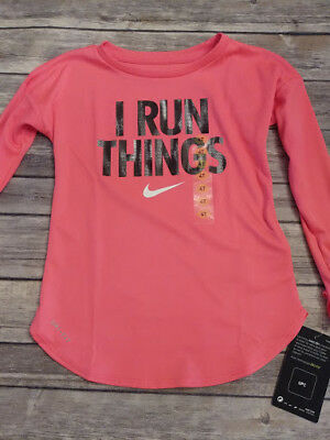 "NWT Nike Dri-fit Toddler Girls Shirt Racer Pink 2T 3T 4T ""I Run Things"""
