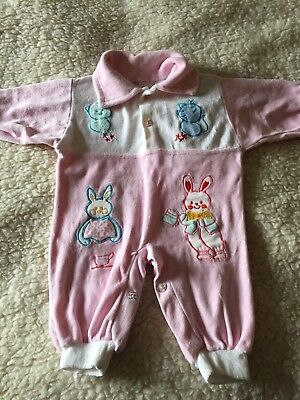Vintage Baby Playsuit, 0-3 Month, Pink