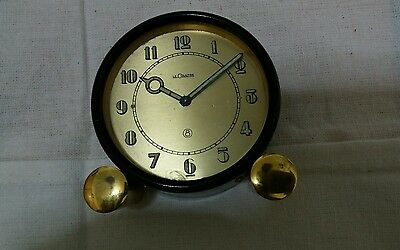 Vintage Genuine Jaeger LeCoultre desk clock 8 days stem Winding and set.