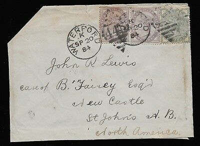 GB Queen Victoria 1884 cover Waterford Ireland to St. John New Brunswick. Good.