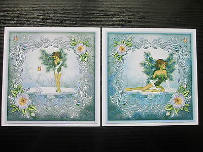 CLEAROUT SET---2 x Fantasy Fairy/Angel Blue Peacock Feather Wings Card Toppers