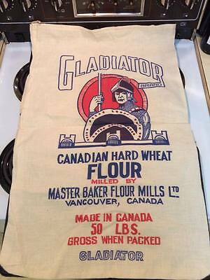 Vintage Gladiator Brand 50 lb flour Sack made in Canada