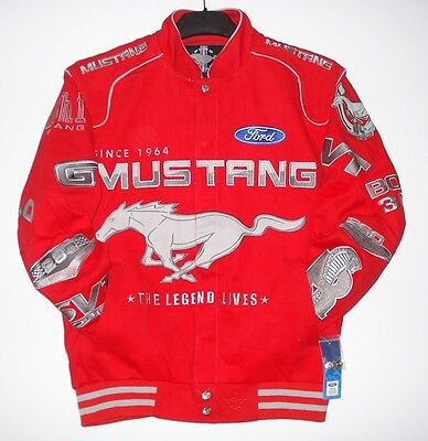 SIZE L FORD MUSTANG RED  Cotton Jacket JH Design NEW  EMBROIDERED L