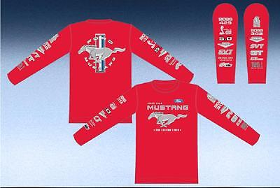 SIZE L JH Design Mustang Racing Screen Printed T- Shirt Long Sleeves Red  L