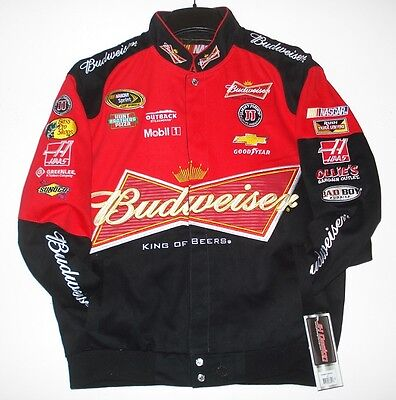 SIZE XXL NASCAR Kevin Harvick BUD BUDWEISER  Cotton Black And Red Jacket