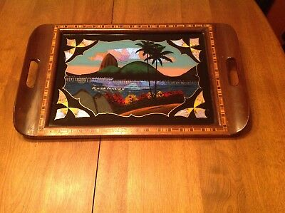 Vintage Butterfly Wing Art Inlaid Wood Serving Tray~ Glass Cover ~ Rio de Janeir