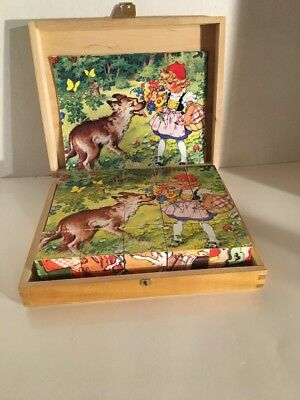 Grimm's Fairy Tales Interchangeable Block Puzzle In Wooden Dovetail Case