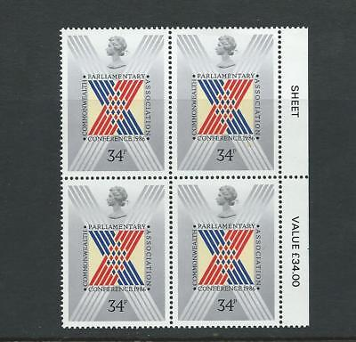 Gb 1986 Commonwealth Conference Block Of 4