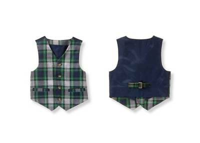 NWT Janie and Jack EVRGREEN CASTLE  Holiday Plaid Wool Vest 6 12 M